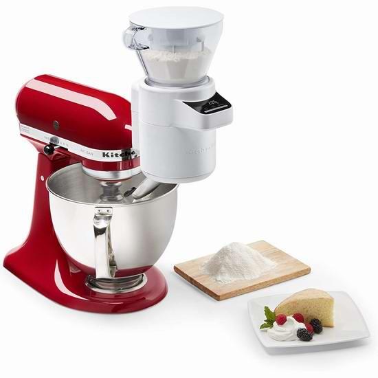 历史新低!KitchenAid KSMSFTA 厨师机专用 一体式面粉过筛器+电子秤附件5.2折 119.98加元包邮!烘焙必备工具!