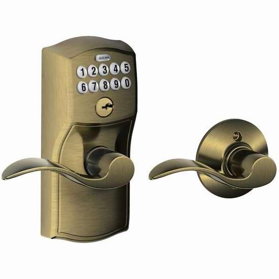Schlage 西勒奇 FE575 CAM 609 ACC 自动上锁 家用电子密码门锁3.8折 114.43加元包邮!