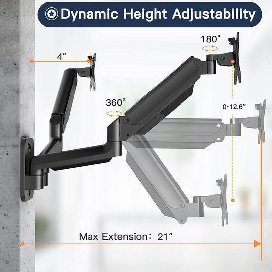 H HUANUOAV 壁挂式 双液晶显示器 双旋臂支架3.4折 28.99加元!