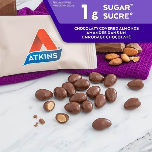 低碳水零食!Atkins 杏仁巧克力豆 、焦糖巧克力花生太妃糖棒、巧克力焦糖慕斯棒 6.62加元起