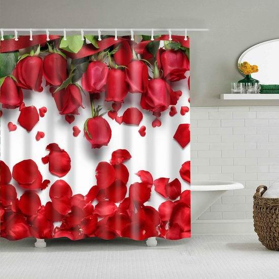 历史新低!Mantto 玫瑰/罂粟花 可机洗 环保防水涤纶浴帘 13.79加元!2款可选!