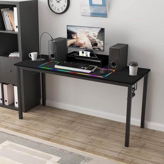 白菜价!历史新低!SogesPower 60英寸 时尚办公桌/书桌/游戏电脑桌3.1折 49加元清仓并包邮!送超大LED炫彩键盘鼠标垫!2色可选!
