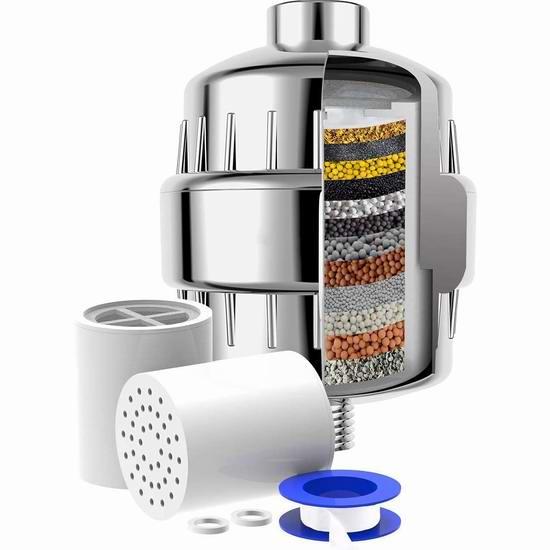 toptry 15级/17级 过滤 软化水质淋浴头过滤器 20.14-21.44加元!2款可选!