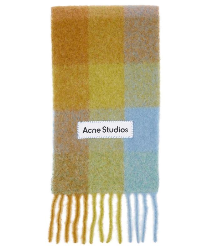 众多博主推荐!ACNE STUDIOS 双面羊毛混纺格子彩虹围巾 7.2折 281加元,原价 390加元,包邮