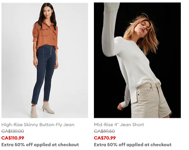 Banana Republic精选男女时尚服饰、鞋靴2.5折起+额外5折:T恤15加元、上衣25加元