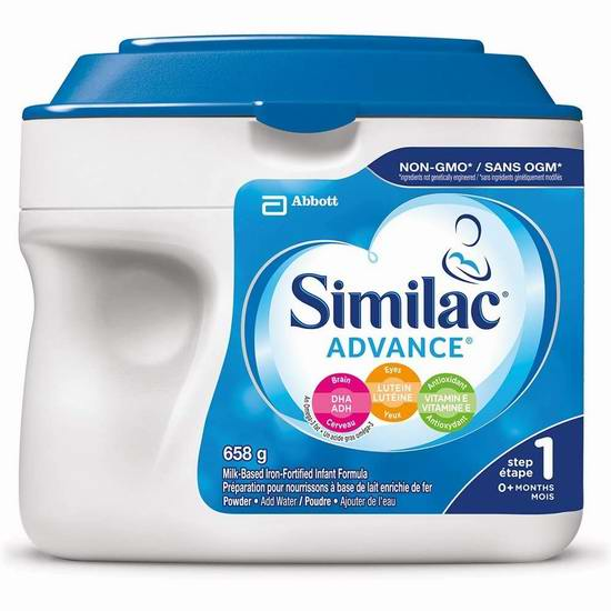手慢无!Similac 雅培 advance step 1 omega-3 omega-6 非转基因配方奶粉(658克)5.6折 17.64加元包邮!