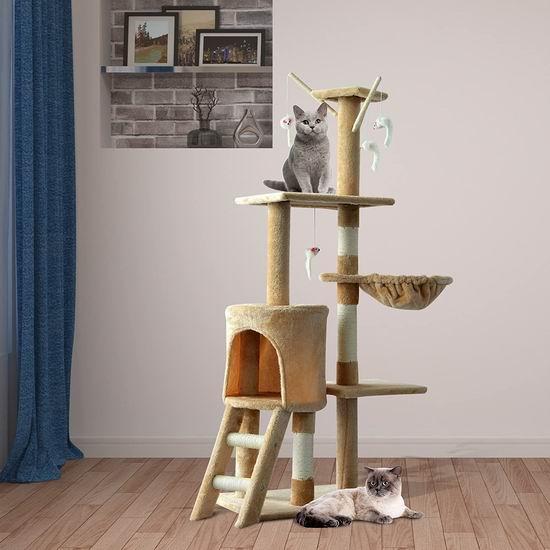 历史新低!PawHut 52英寸多层猫树公寓/猫爬架 58.99加元包邮!