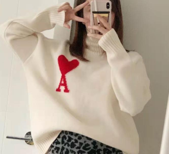 Ami 100% 初剪羊毛心形高领毛衣 男女均可 399加元,原价 700加元,包邮