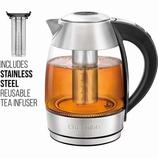 Chefman 1.8升 烧水/泡茶二合一 精准温控 玻璃电热水壶 55.99加元限量特卖并包邮!