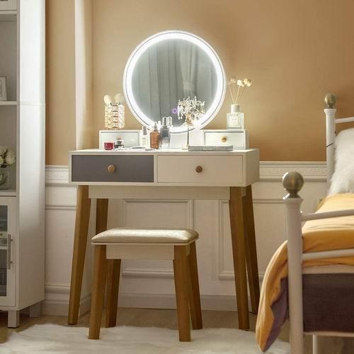 CHARMAID 现代梳妆台 带3色LED灯触摸屏化妆镜 +带4个滑动抽屉+坐凳套装 299.99加元+包邮