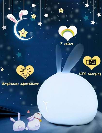 白菜价!历史新低!tobelife 超萌小兔子 7色LED 可充电 儿童硅胶夜灯3.5折 7.97加元清仓!