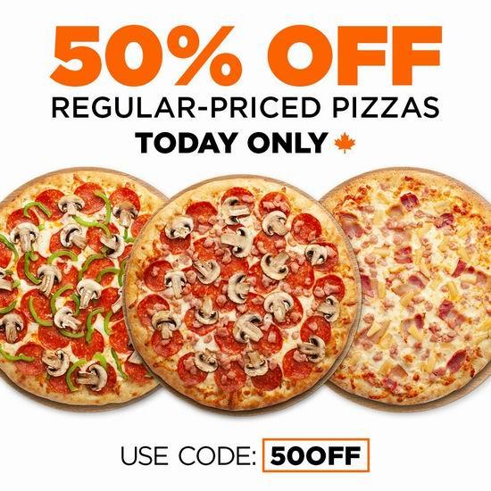 Pizza Pizza连锁店,全场披萨5折,仅限6月30日!