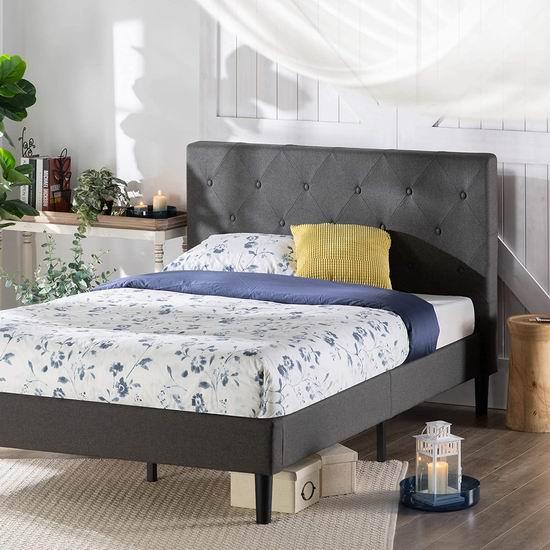 Zinus Upholstered Diamond 布艺软垫 Queen/King 床头板+床架 208.75-243.74加元包邮!