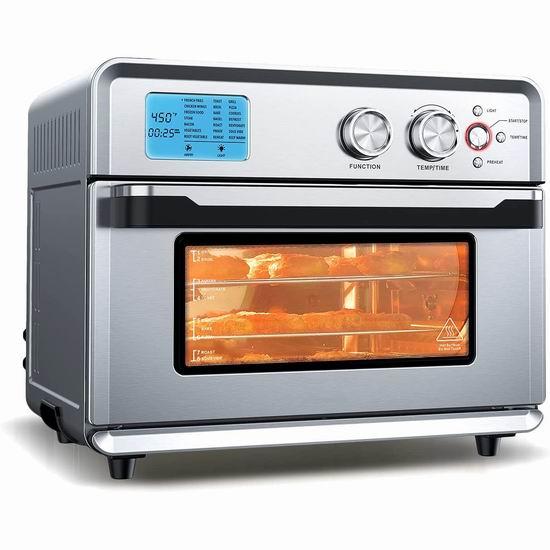 历史新低!CalmDo 26.3夸脱超大容量 21合1 烤鸡烤串烤披萨 空气炸锅/对流烤箱5折 139.99加元包邮!