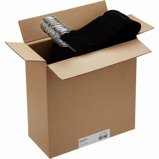 补货+折扣升级!历史新低!AmazonBasics 天鹅绒衣架50件套超值装4.5折 15.05加元清仓!