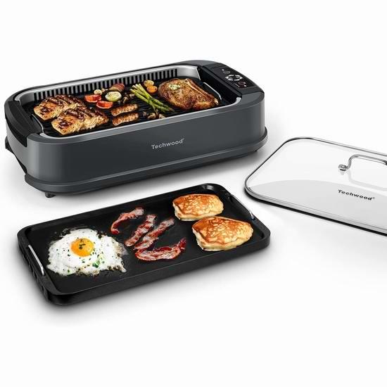 Techwood 1500W 升级版 家用无烟 麦饭石烤盘 韩式电烧烤炉 147.98加元包邮!自带油烟过滤系统!