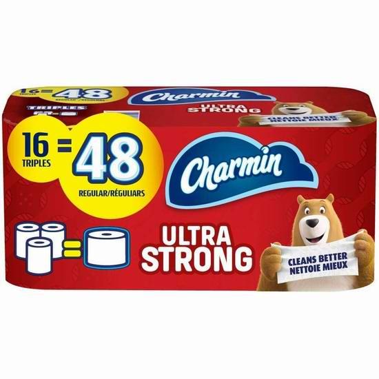 历史最低价!Charmin 超软/超强 双层卫生纸16卷装5.2折 10.42加元包邮!相当于普通48卷!2款可选!