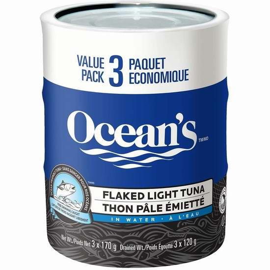 补货:历史新低!Ocean's Flaked Light 金枪鱼罐头超值装(170克x3罐)4.3折 2.61加元!