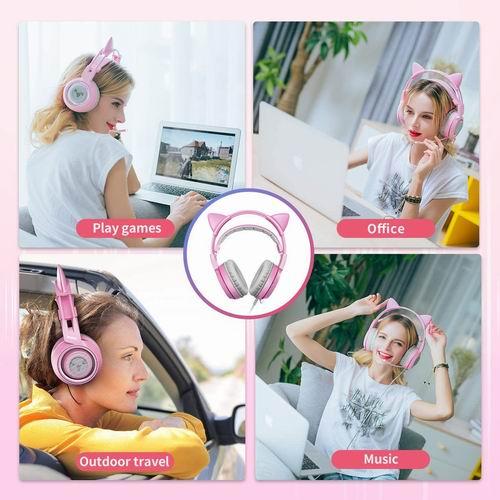 SOMIC G951s 网红少女粉猫耳朵 立体声游戏耳机 带麦克风 54.99加元+包邮