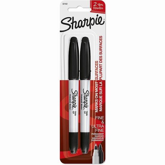 历史新低!Sharpie 永久记号马克笔2件套4.4折 1.97加元!
