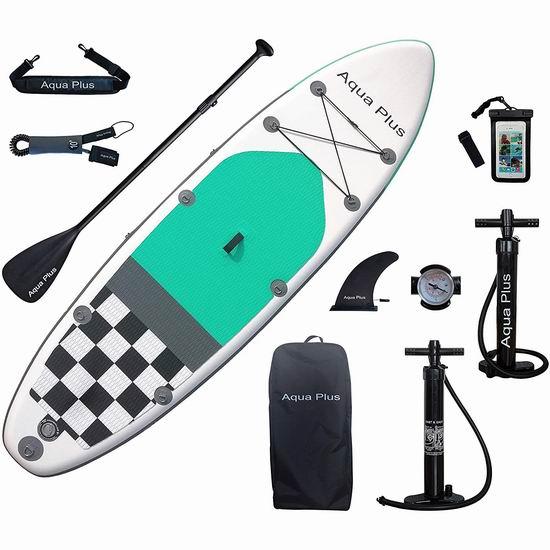 历史最低价!Aqua Plus 10英尺 SUP充气站立式桨板 299.99加元包邮!会员专享!