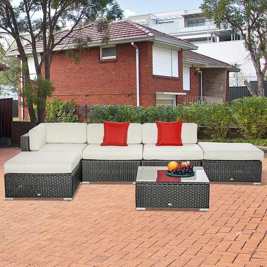 折扣升级!Outsunny 庭院软垫藤条沙发+茶几6件套4.5折 749.99加元包邮!