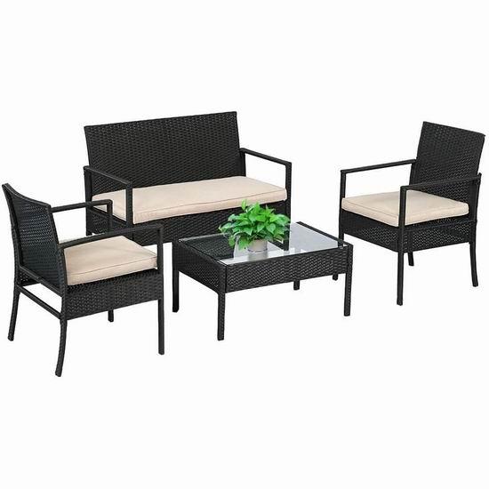 历史新低!超划算 FDW 庭院软垫藤条沙发+茶几4件套 284.99加元包邮!