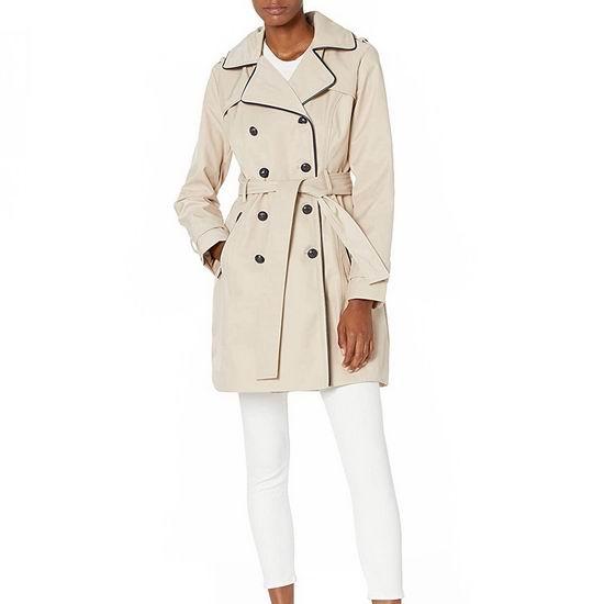 白菜价!Guess 卡其色 英伦风双排扣 女式风衣3.2折 66.37加元包邮!