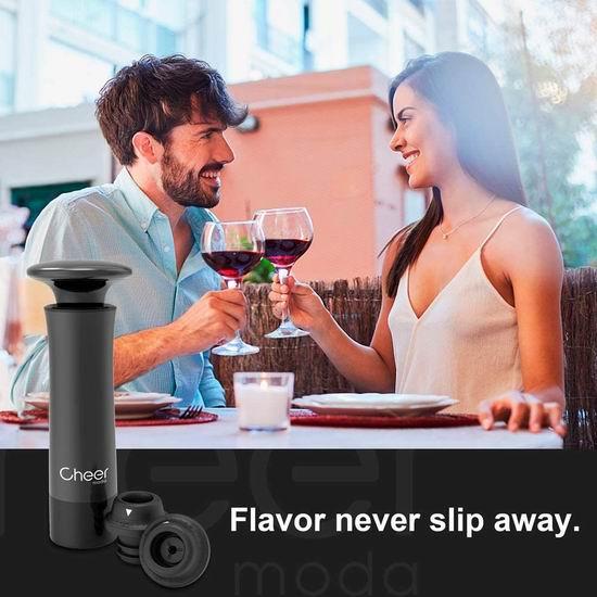 白菜价!CHEER MODA 葡萄酒防氧化 真空抽气泵+瓶塞套装 8.95加元清仓!送价值14.99加元酒杯识别环!3色可选!