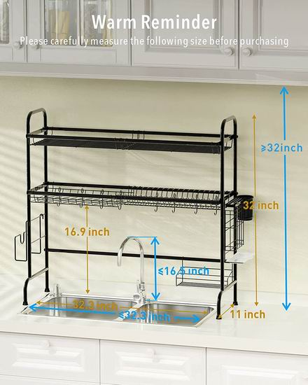 Cambond 不锈钢双层大容量收纳 水槽上餐具沥水架 59.99加元包邮!