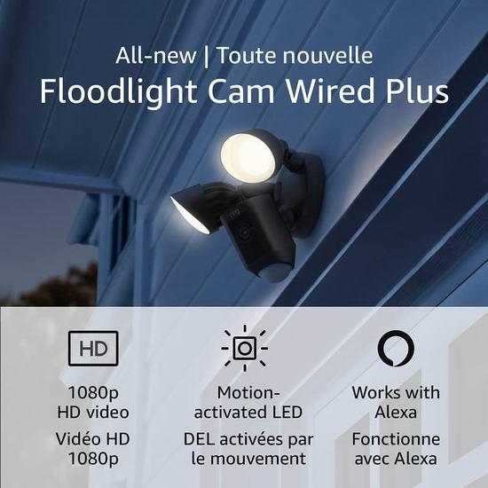 历史新低!新品 Ring Floodlight Cam Plus 超亮感应照明/双向语音/警笛 家庭安防摄像头 189.99加元包邮!2色可选!
