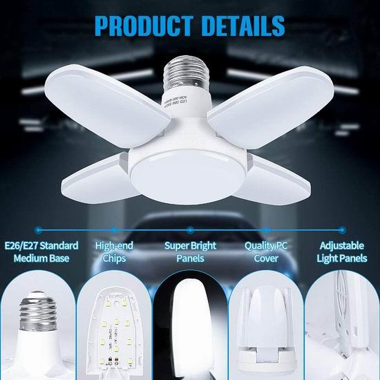 白菜价!历史新低!FESNNE 2800流明 超亮LED节能照明灯/室内地库车库灯2件套 12.99加元清仓!
