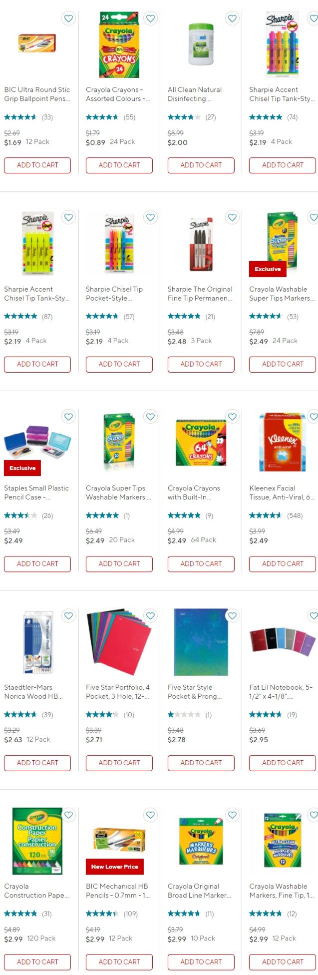 上新+折扣升级!Staples精选办公用品、学习文具及电子产品等1.1折起+满减10加元,低至0.1加元+无门槛包邮!