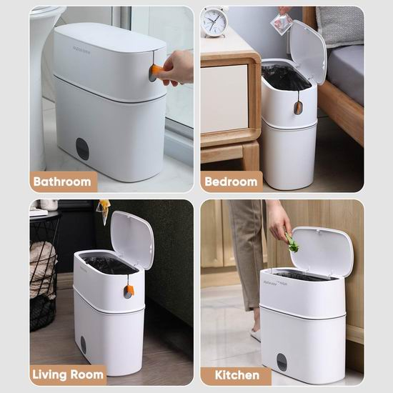 历史新低!JOYBOS 佳帮手 11升 高颜值窄身 自动打包垃圾桶5折 27.99加元包邮!
