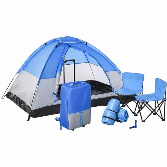 历史新低!Outsunny 儿童双人帐篷/睡袋/座椅/行李箱7件套5.8折 69.99加元包邮!
