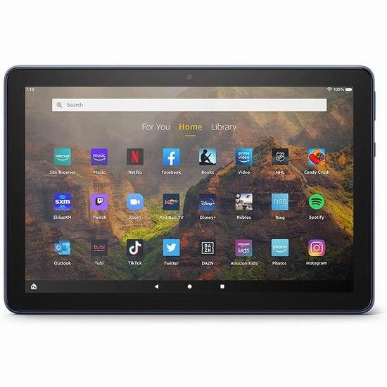 历史新低!新品 Fire HD 10 10.1英寸全高清平板电脑(32GB/64GB) 144.99-184.99加元包邮!2色可选!