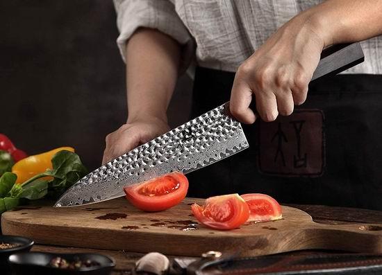 历史新低!XINZUO 信作 大马士革钢 锤纹 8.3英寸专业厨师刀5折 69.99加元包邮!送价值47.99加元中式切肉斩骨刀!