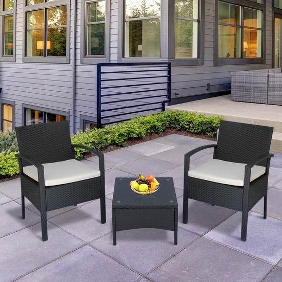 Outsunny 庭院软垫藤条沙发+茶几3件套5.1折 199.99加元包邮!