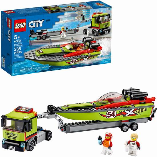 LEGO 乐高 60254 城市系列 赛艇运输车(238pcs)7.5折 29.99加元!可在水面漂浮!