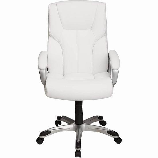 历史新低!AmazonBasics 高颜值 白色复合皮 高靠背旋转办公椅6.9折 112.78加元包邮!