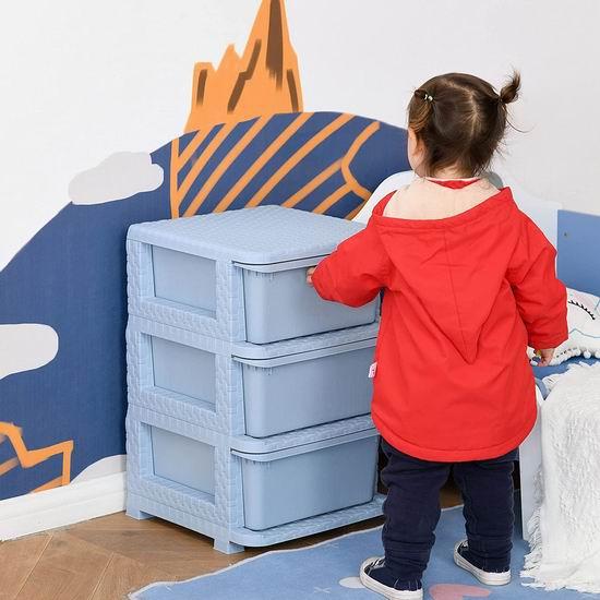 历史新低!Qaba 儿童三抽屉储物柜/玩具收纳柜5折 26.49加元包邮!