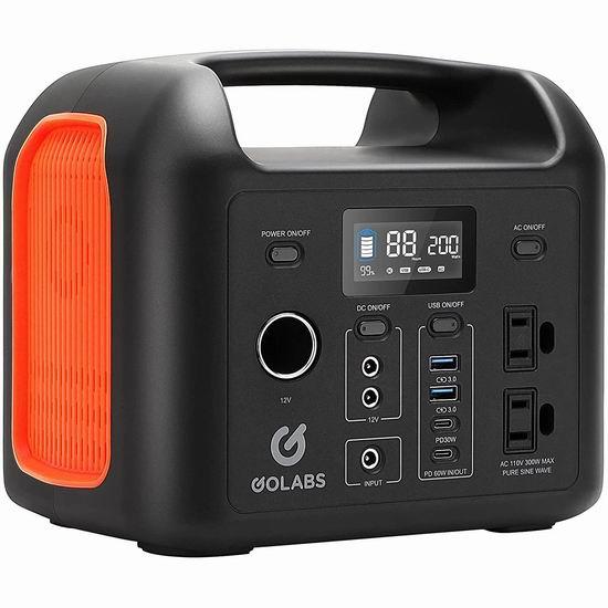 历史新低!GOLABS 299Wh 110V/300W 大容量 便携式备用电源/移动电源6折 239.99加元包邮!