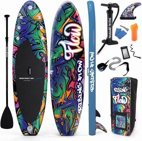 SereneLife 高级充气立式桨板 6英寸 厚带SUP 配件及手提袋 490.03加元