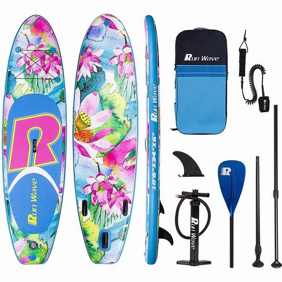 Runwave 10.6英尺 高颜值精美莲花 SUP充气站立式桨板 419加元包邮!会员专享!