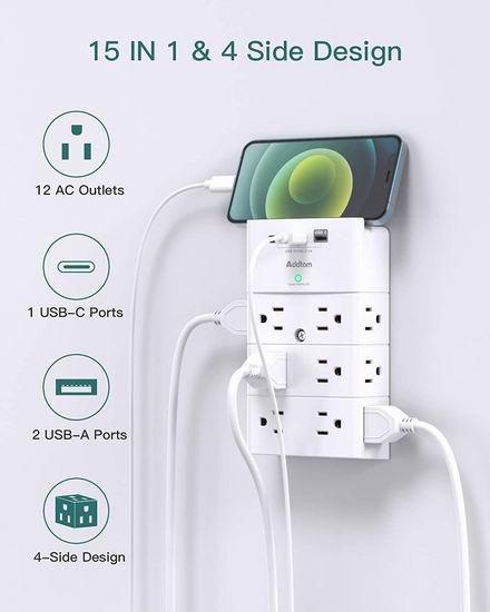 历史新低!Addtam 15合1 壁插式12口插座 + 3 USB充电口 墙壁插线板5折 20.24加元!
