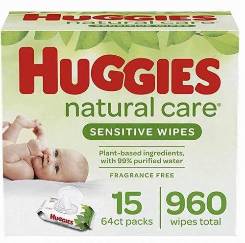 Huggies天然呵护婴儿无香型湿纸巾960张 18.97加元,原价 24.98加元