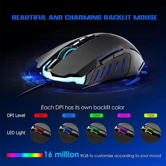白菜价!Biijok 7200 DPI 炫酷彩虹背光 有线游戏鼠标3.5折 6.99加元清仓!