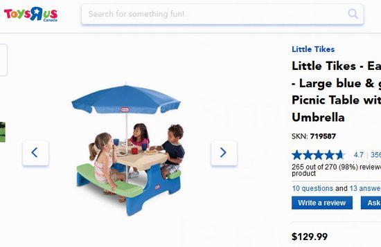 Little Tikes 小泰克 Easy Store 折叠式幼儿餐桌/游戏桌 61.99加元包邮!