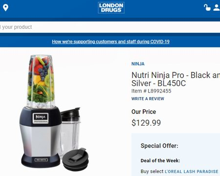 Ninja Nutri Pro BL450C 专业智能搅拌机5.4折 69.98加元包邮!