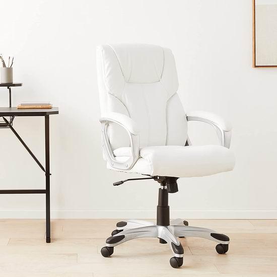 折扣升级!历史新低!AmazonBasics 高颜值 白色复合皮 高靠背旋转办公椅6.9折 112.78加元包邮!